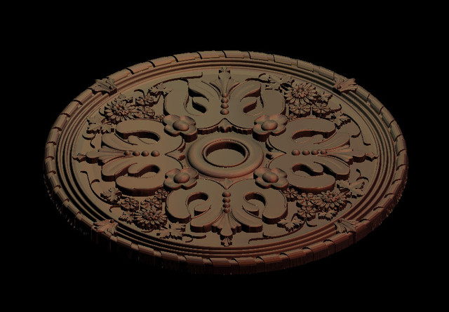 3D Round plate ring Relief Model in STL format for CNC Router Carving Engraving Artcam aspire R123