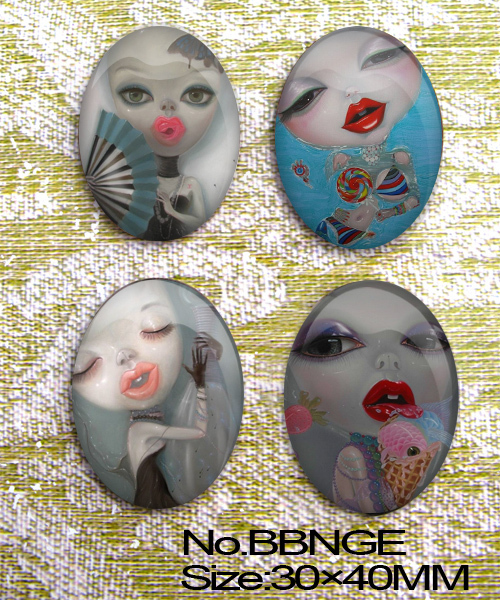4pcs Huge Small Demon Woman Oval Glass 40x30mm Cabochon  BBNGE