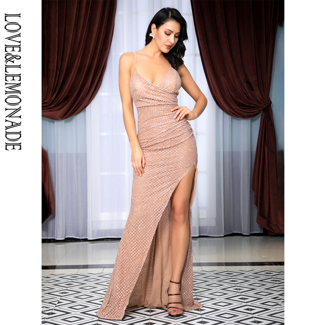 Love&Lemonade Sexy Deep V-Neck Open Back Pleated Element Plaid Gillter Glue Material Long Dress LM81213 ROSE GOLD
