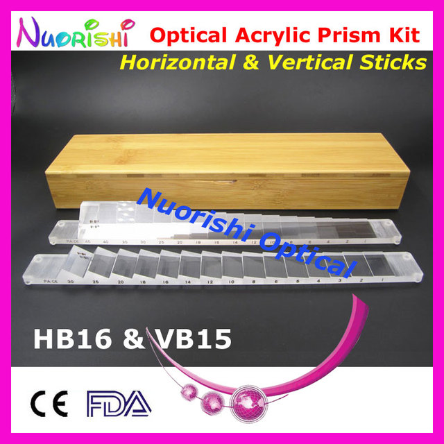 Ophthalmic Optical Optometry Acrylic Horizontal Vertical Prism Lens Sticks Kit Set Bamboo Case Packed HVB15 Free Shipping