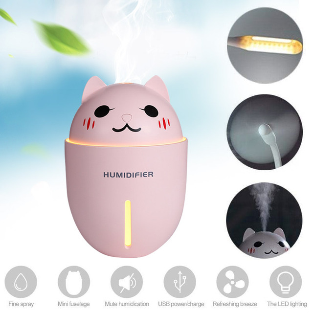 2019 Drop Shpping Cat Shape Aromatherapy Diffuser Humidifier Practical Multi-Function USB Fan Ultrasonic Mist Maker