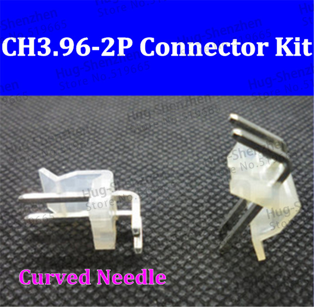 100set/lot CH3.96 3.96mm connector right angle 90 degree 3.96mm 2pin 2-Pin male female connector socket with terminals pins