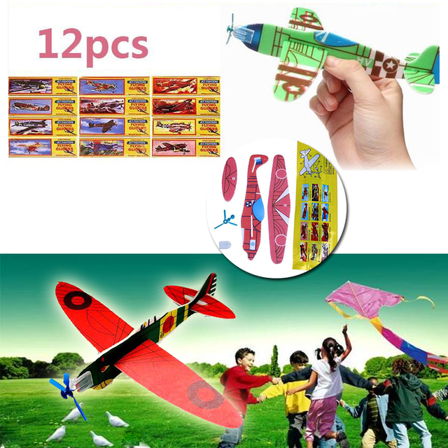 12 Pcs DIY Assembly RC Airplane Hand Throw Educational Toy Glider Aircraft Model Child Outdoor Foam Toys