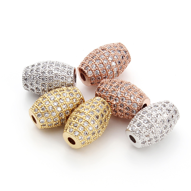2pcs/lot 8x11mm Gold/Rose Gold/Rhodium Color Cristal Metal Spacer Beads with 1.5mm Hole Size for DIY Jewelry Making Beads F3289