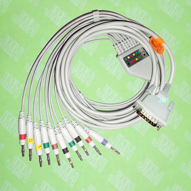 Compatible with Schiller,Futuremed,Cardiette,Astron,BTL,EKG 10 lead,One-piece cable and leadwires,15PIN,4.0 Banana,IEC or AHA.