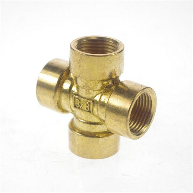 """1pcs 4 ways 3/8"""" BSP Cross Female Connection Pipe Brass Coupler Adapter"""