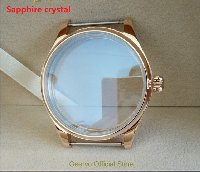 Sapphire crystal 44mm 316L Stainless steel watch cases electroplated 18K rose gold fit ETA 6497/6498 movement  012A