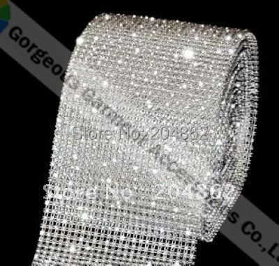 10 Yards 24 Rows Plastic rhinestone cake trim crystal banding with SS12 stones Transparent Base For DIY wedding accessories