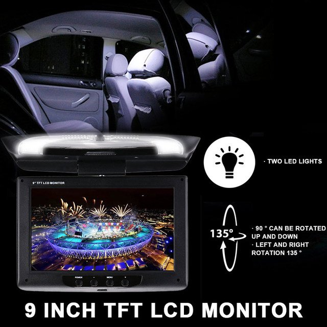 Car DVD Monitor Flip Down Roof Mount Monitor Multimedia Video Display Automotive Smart Reversing Image Audio Player Overhead