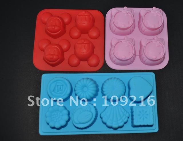 Green Good Quality 100% Food Grade Silicone Cake Mold/Muffin Cupcake Pan 3pcs/set Kitty and Mickey Mouse and  Flowertypes Molds