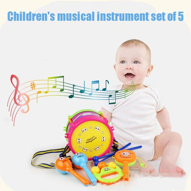 Instruments Set Instruments Toy Musical Instruments Plastic Drum Sets 5pcs Bell Play Infant Educational Ring Musical Toy