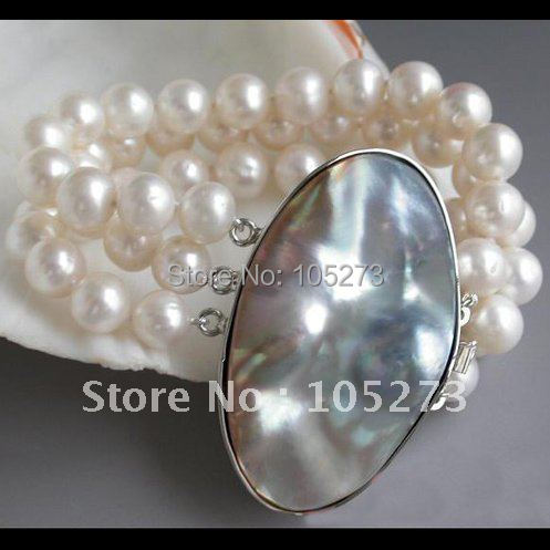 Charming! 3Rows 8'inchs AA 10-11MM Round White Color Freshwater Cultured Pearl Bracelet Mabe Pearl Clasp Free Shipping FN2128