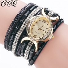 CCQ Brand Fashion Women Watches Gold Crystal Oval Dial Dress Bracelet Watch Casual Square Diamond Luxury Ladies Watch Clock