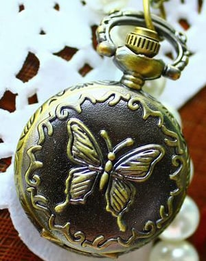 Coupon for wholesale buyer price good quality antique fashion new bronze butterfly quartz pocket watch necklace with chain hour