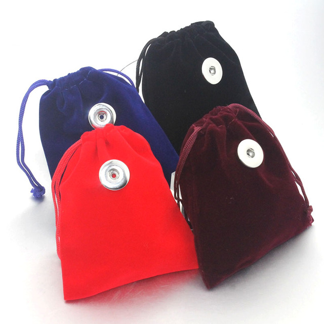 5Pcs 10*12cm Snap Button Jewelry Black Velvet Bag Drawstring Pouch Necklace Bracelet Beads Bags Jewelry Packaging Gift Bag 8752