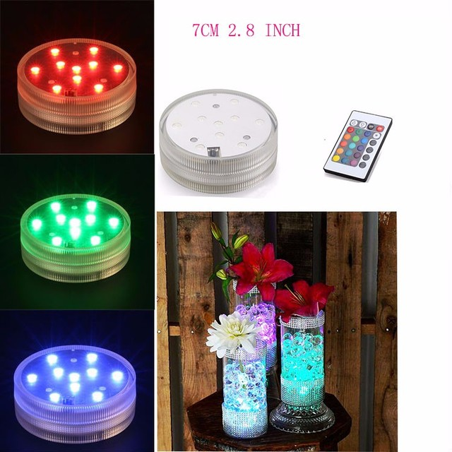 (20pcs/lot) 3AAA Battery Operated Remote Controlled 10Multicolor RGB LED Waterproof Vase Light,Submersible Led Base For Decor
