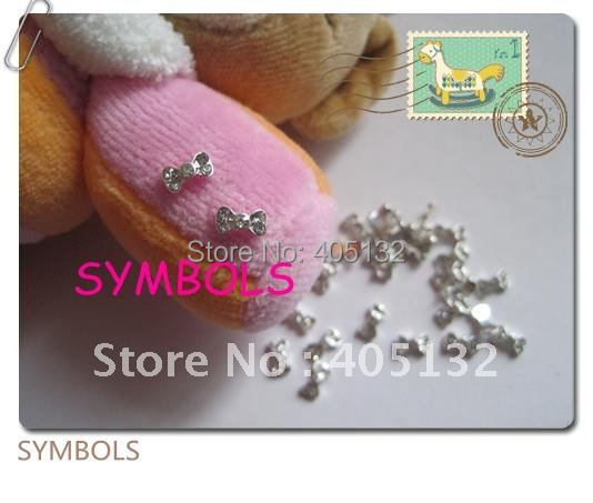 MD-62 3D 50pcs/bag Small Silver Bow Crystal Rhinestone Metal Nail Decoration Lovely Outlooking Nail Art Decorations
