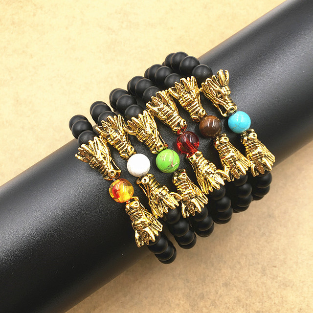 Antique Gold Double Dragon Head with Matt Onyx Black Natural Stone Beads Bracelet Men Women Jewelry