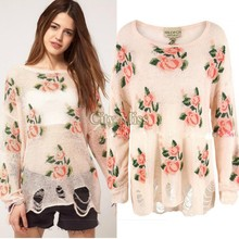 2014 Spring And Autumn Hot Selling Flower Sweater Loose Pullover 5 Color O-Neck Fashion Women Winter Sweater 25