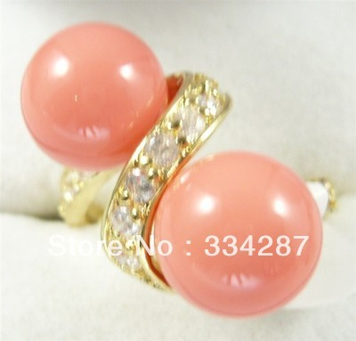10mm white pink gray black yellow blue red black shell pearl 18KGP ring
