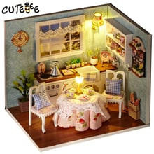 DIY Wooden House Miniaturas with Furniture DIY Miniature House Dollhouse Toys for Children Birthday and Christmas Gift H09