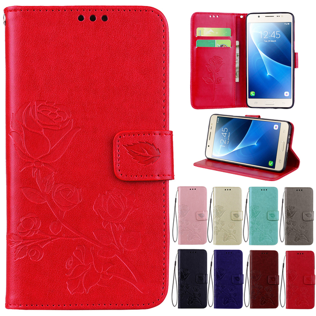 Leather Phone Case For Samsung Galaxy A5 2016 version A5100 Wallet Rose Flower Stand Mobile Phone Cover For Samsung A510F Cases