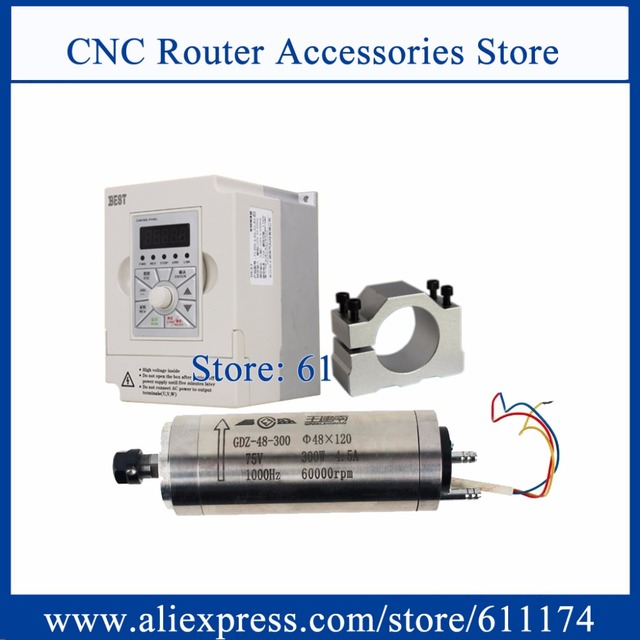 High speed 60000rpm CNC Milliing spindle motor 300w 75V Water cooled Spindle Motor + 1.5Kw AC220V Frequency VFD Inverter + 48mm