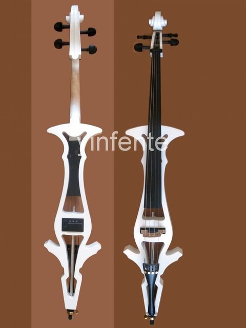 New cello  Electric cello Powerful Sound White Blue Black Yellow solid wood Ebony parts #8