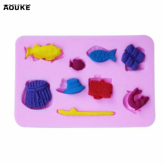 Hat Fishing Gear Series Fish Fishing Rod Fondant Cake Silicone Mold Pastry Chocolate Mould Candy Biscuits Molds DIY Baking Tools