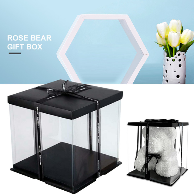 PVC Foldable Flower Box Living Room Bear Rose Beautiful Party Valentine'S Day Gift Box Wrapping Gift Case Portable Wedding