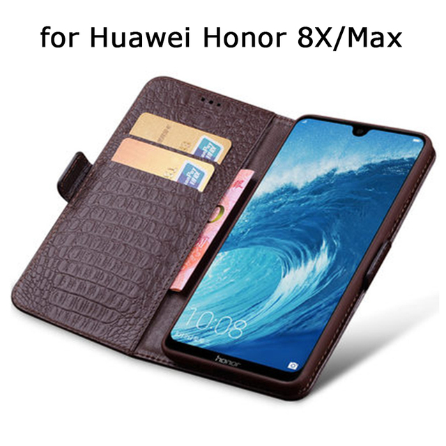 Wallet Case for Huawei Honor 8X Business Flip Phone Cases for Huawei Honor 8X Max Genuine Leather Fundas Skin Card Slot Magnetic