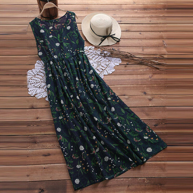 2019 Summer Fashion Women Sexy Casual Boho Sleeveless O-neck Floral Printed Long Loose Dress Plus Size Summer New Arrival