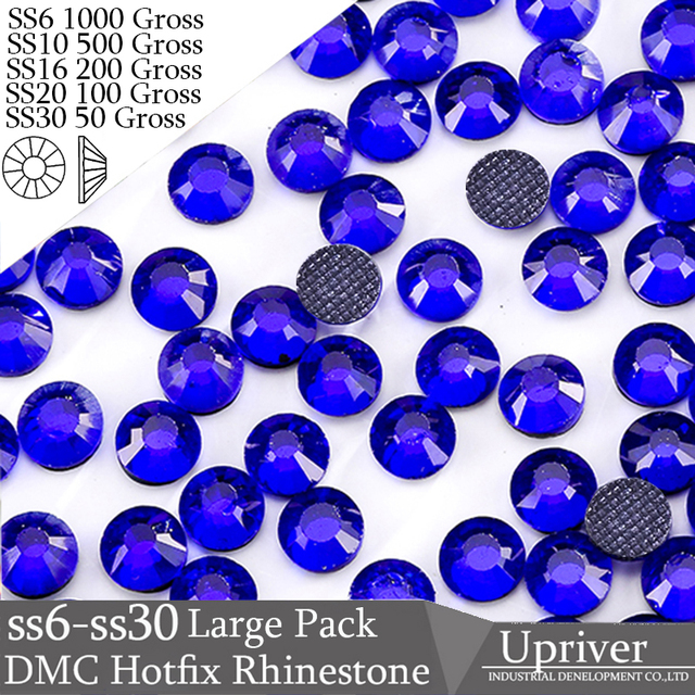 Upriver Wholesale Large Pack Bulk Packing Iron On Grey Glue SS6 SS10 SS16 SS20 SS30 Cobalt Iron On Hotfix Rhinestones