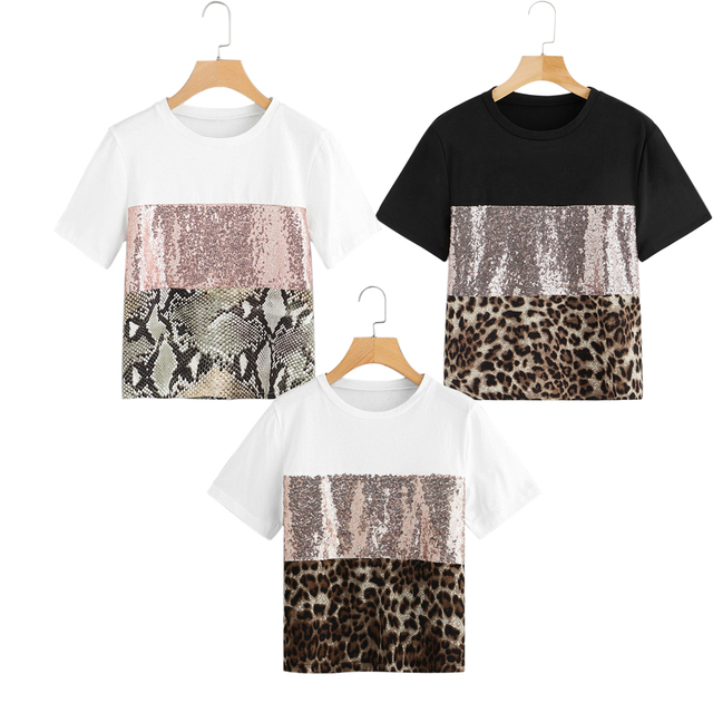 Fashion Womens Causal T Shirts Ladies Pacthwork Leopard Print Sequin Sleeve Tee Shirts Femme Tops Female Tshirt Camisas mujer