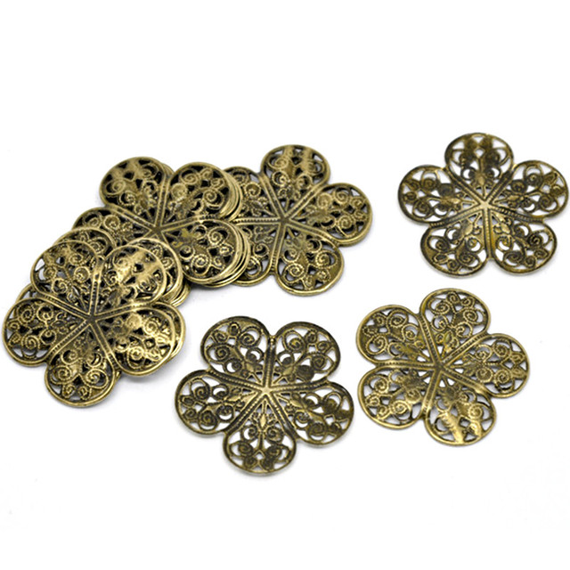 50Pcs Bronze Tone Flower Filigree Wraps Hollow Alloy Connectors Jewelry Findings 36x36mm