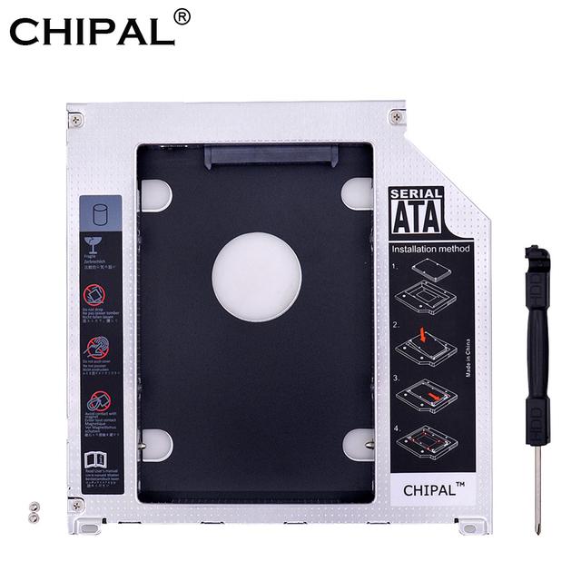 "CHIPAL Алюминий 2nd HDD Caddy 9,5 мм SATA 3,0 SSD Дело HDD корпус для Apple Macbook Pro Air 13"" 15 ""17"" Супер диск Optibay"