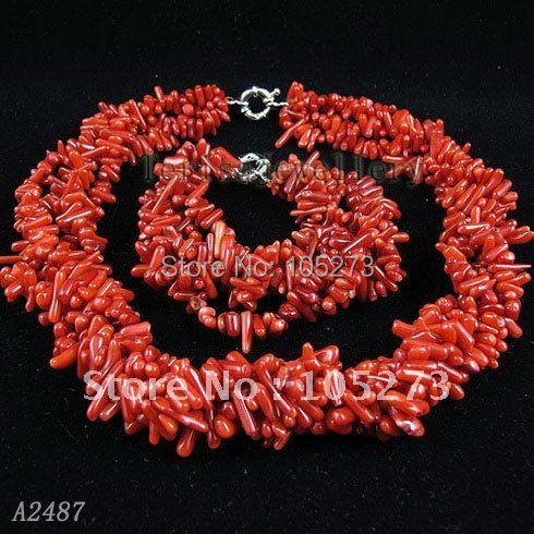 Stunning!4rows Red coral necklace bracelet jewelry set AA 2-12MM Baroque shaper Handmade woman's jewelry