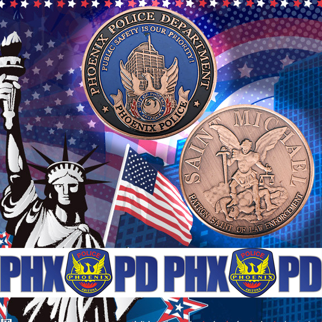 Phoenix Police Normal Brass Coin Challenge Coin Medal 40*3 Souvenr American copy Coins