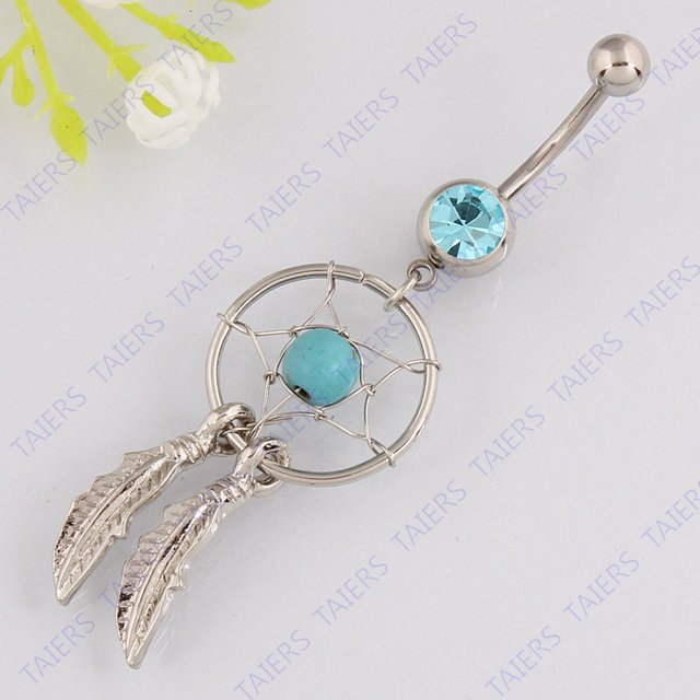 Silver plated Dream Catcher fashion jewelry belly ring body piercing Retail navel bar 14G 316L surgical steel bar Nickel-free