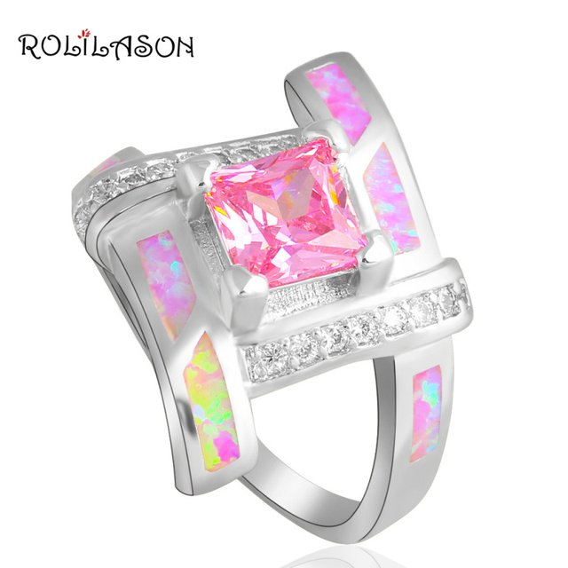 Pink Crystal Party item for Girls Pink Fire Opal silver plated Zirconia Fashion Jewelry Rings USA #6#7#7.5#8#9 OR666