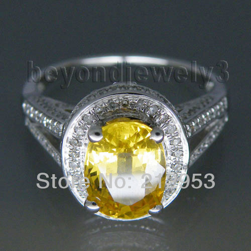 Charming Natural Diamond Yellow Sapphire Ring Oval 7x9mm In 14Kt White Gold Yellow Sapphire Wedding Ring R00320