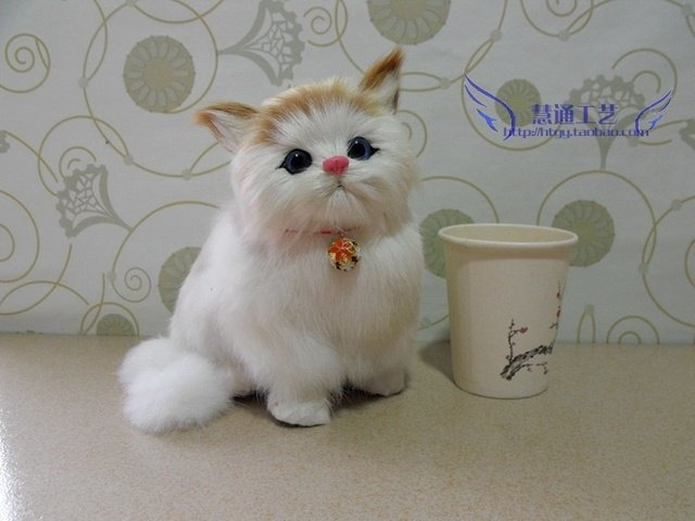 about 16x12x17cm lovely bell cat,miaow sound cat animal model toy polyethylene&furs handicraft,props decoration gift d402