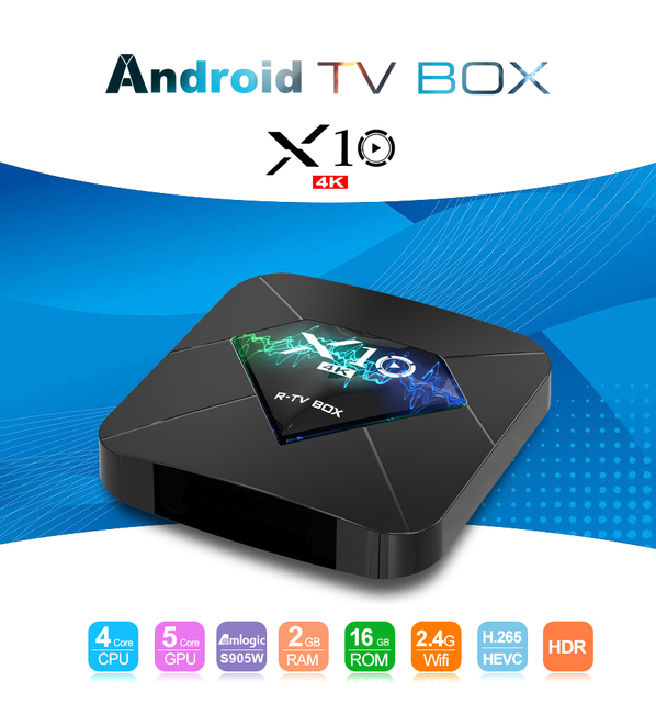 Cheapest Android TV Box X10 Android 7.1 Amlogic S905W Quad Core 2GB/16GB 2.4G WiFi 4K H.265 UHD HDMI 2.0 Smart Media Player