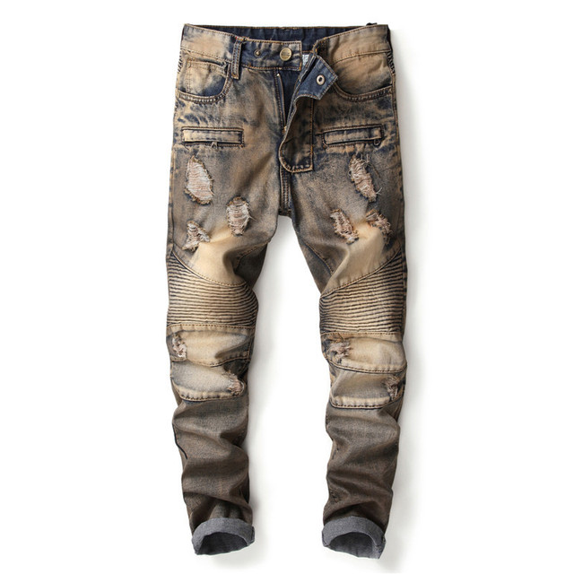 Newsosoo Fashion Mens Ripped Biker Jeans Pants Slim Fit Straight Vintage Retro Distressed Motorcycle Denim Trousers Size 29-38