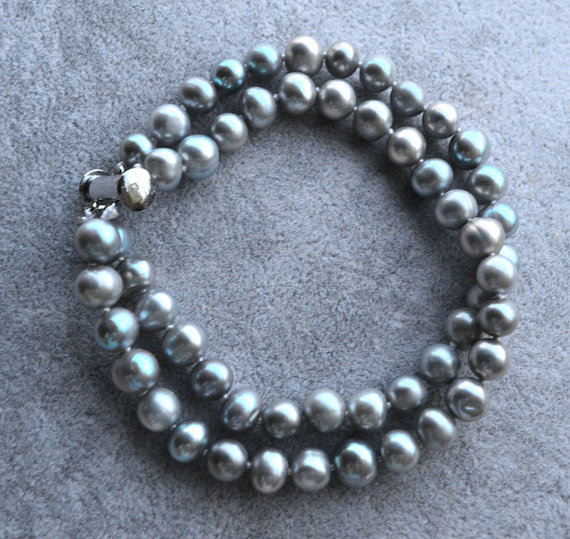 Charming Pearl Jewelry,8inches 7-8mm Gray Color Natural Freshwater Pearl Bracelet 2Rows Pearl Jewelry,Magnet Clasp