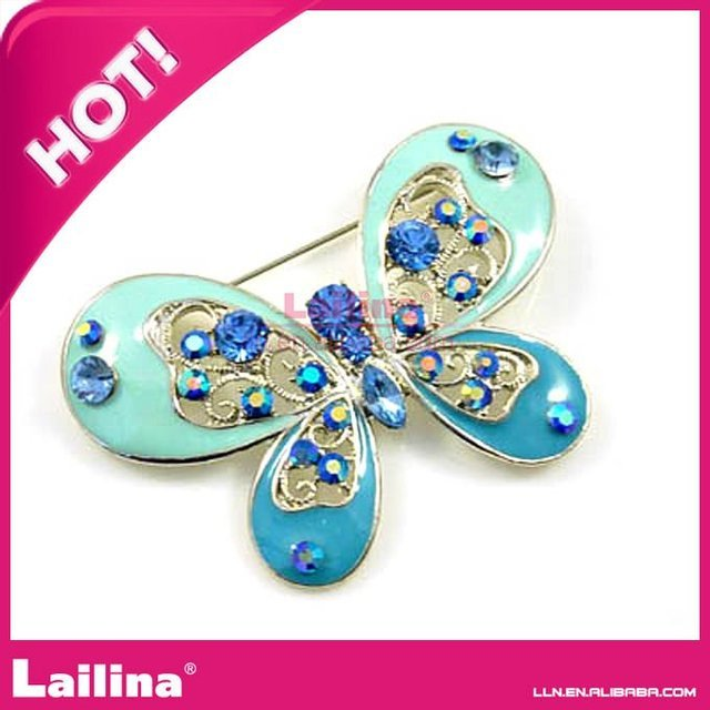 blue butterfly shape rhinestone brooch
