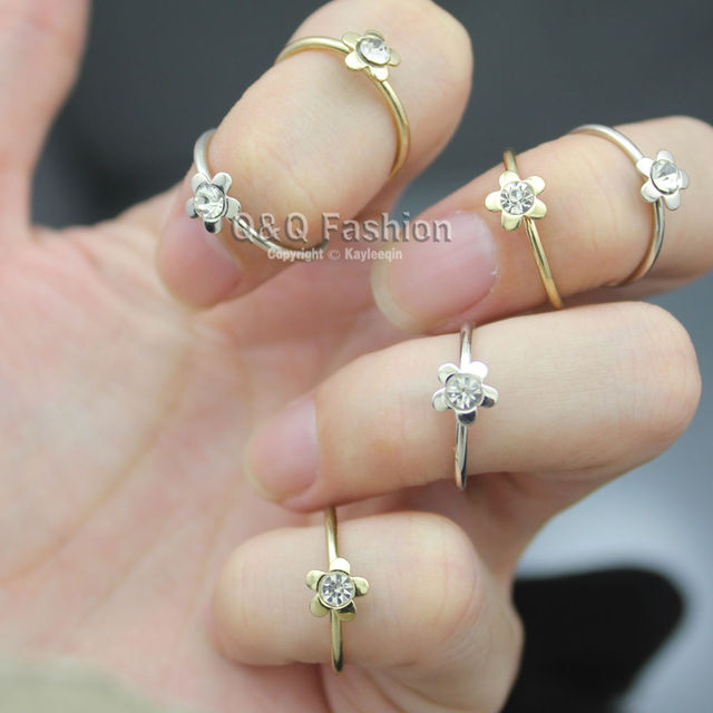 Stack 6 Gold & Silver Plated Daisy Flower Crystal Midi Knucke Finger Ring Set Gift Jewelry  New