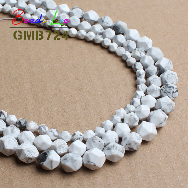 Wholesale Faceted White Turquoises Howlite Round Beads Natural Stone Beads For Jewelry Making DIY Bracelet 6/8/10mm 15inch