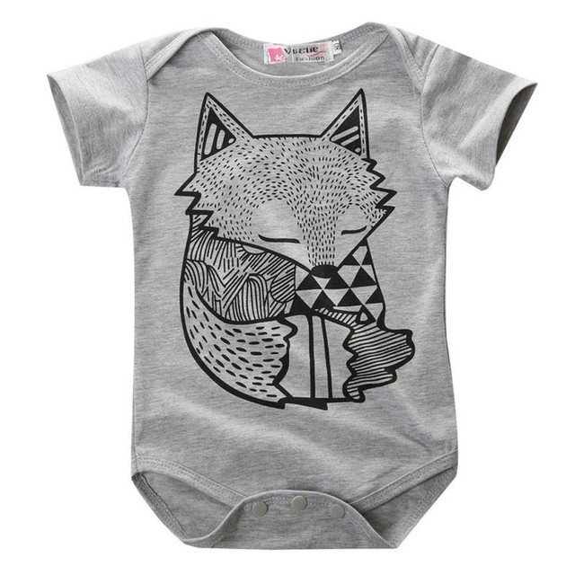 Fox printed new baby girls and boys clothes children suit baby break the clothes of the newborn baby beautiful Jumpsuit 0-24M P2