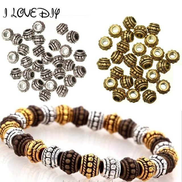 100pcs Big Hole Tibetan Silver Spacer Beads For Needlework Round Wheel Metal Spacer Beads Supply Charm for Jewelry Making 8x6mm